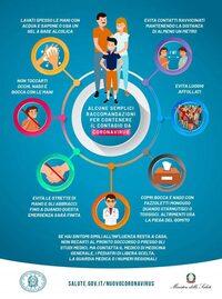 raccomandazioni per contenere il contagio da coronavirus - infografica